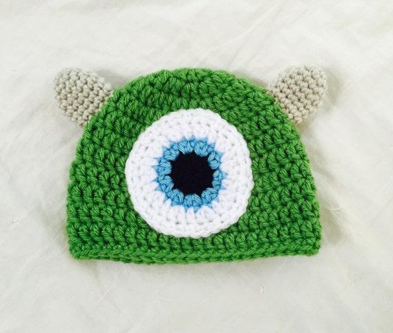 Handmade Crochet Mike Wazowski Hat