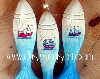 Handpainted hanging wooden fish ornament with fishing boat decal waxed unique