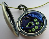 Purple & Lime Spotted Dragon Locket Necklace
