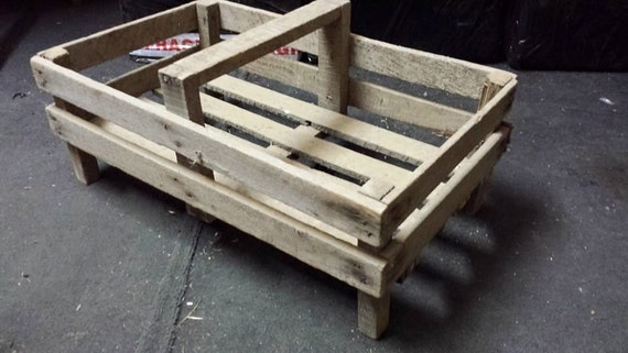 FRENCH Small Wooden Potato Pannier / Trug Vegetable Basket Display Case Crate Rustic cottage chic tray