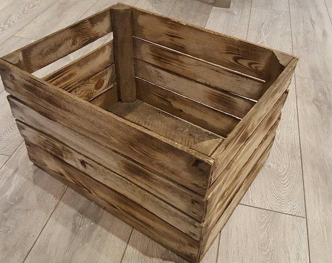1 x Burntwood Vintage Rustic European Wooden Apple Crates ideal storage boxes box display crate & Apple crates bushel box - WineBoxesEtc Aboutintivar.Com