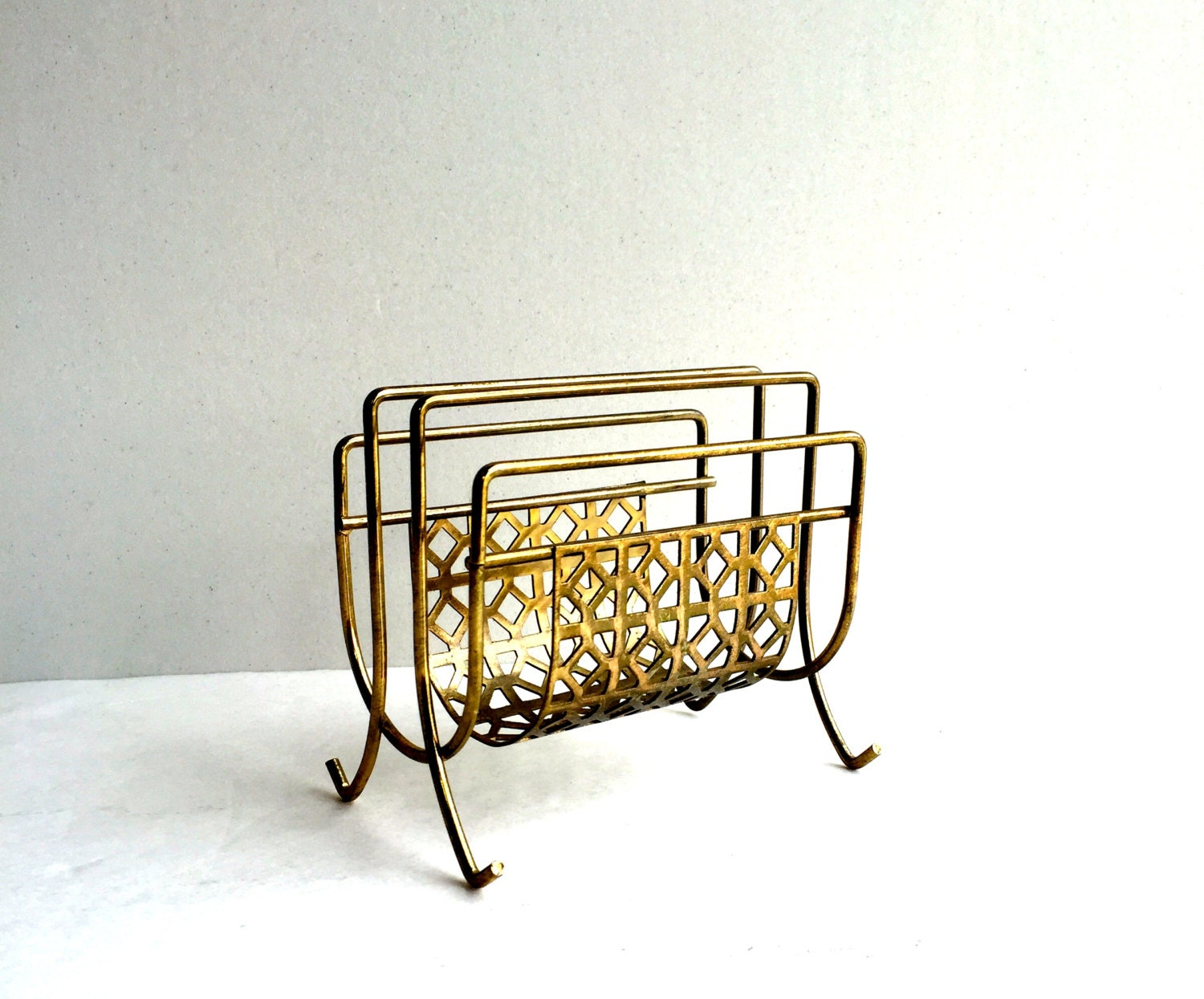 Mid century gold metal mesh napkin holder or letter holder for Gold letter rack