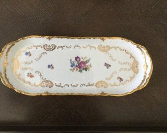 Vintage Reichenbach Porcelain Floral/Gold Accents German Decocratic Republic Oblong Serving Dish