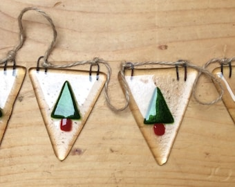 Fused Glass Christmas Tree Bunting Garland Decoration Gift