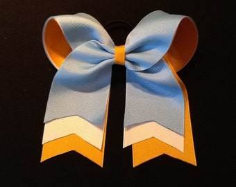 Blue Gold White Cheer Bow Layered Cheer Bow Softball Ball Bow