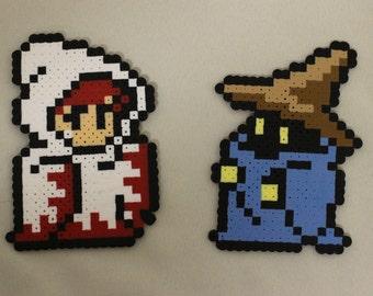 NES White and White Mage Bead Sprite Final Fantasy Perler Pixel Art