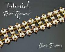 Bead Romance - superduo bead pattern, beaded lace bracelet pattern, seed beads pattern, beading tutorial, lace bracelet  / TUTORIAL ONLY