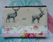 Handmade Large Stag Makeup Bag Clutch Designer Deer Linen Roses Cosmetic Pencil Case Padded Lined Animals