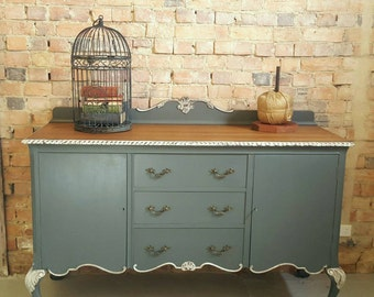 Vintage Queen Anne Style Ball & Claw Foot Sideboard