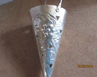 Victorian inspired cone flower girl basker, silver plated ribbon can be added