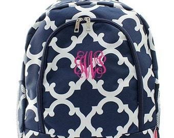 Personalized Backpack Monogrammed Bookbag Quatrefoil Moroccan Navy Blue Large Full Size Canvas Kid Tote School Bag Embroidered Monogram Name