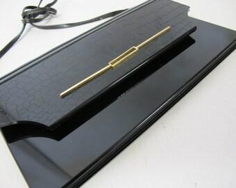 Black Lucite Purse Mod Purse Pelletterie Italian Black Purse Shoulder bag