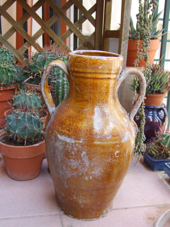 Rare antique Italian 1800s large glazed terracotta earthenware jar ...