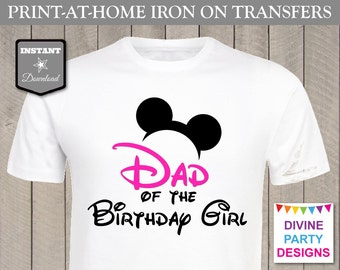 INSTANT DOWNLOAD Print at Home Pink Mouse Dad of the Birthday Girl Printable Iron On Transfer / T-shirt / Family / Trip / Item #2355