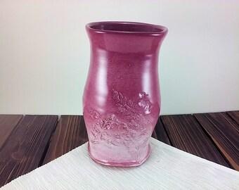 Cranberry Pink Vase pottery flower vase ceramic floral vessel bud vase