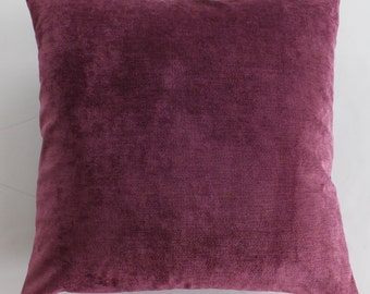Plum Raspberry Velvet Throw Pillow Cover -20 x 20- Handmade-Robert Allen Designer Fabric-March Trends Home Decor Easter Spring Magenta Gift