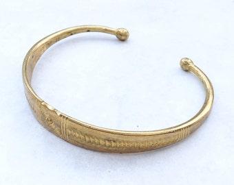 Vintage Ghana brass cuff bracelet