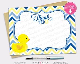 Rubber Ducky Boy Baby Shower Thank You Card Blue Yellow Chevron Zig Zag Polka Dot Pattern- Instant Download Digital File