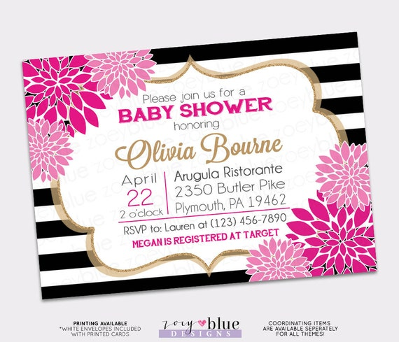 Floral Fuchsia Rose Pink Baby Shower Invitation Bridal