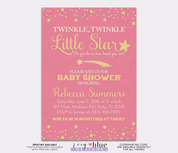 twinkle little star baby shower invitation pink gold little star