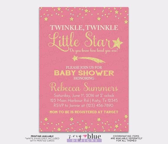 twinkle little star baby shower invitation pink gold little star