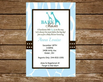 Wild Blue Safari Baby Shower Invitation