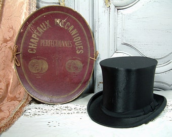 Antique French collapsible silk top hat in its original hat box. Victorian. Edwardian. Steampunk. Collapsible silk topper
