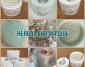 Herbal AHA Masque All Natural Soothing Exfoliating Facial Masque by Olio Luxe with Organic ingredients