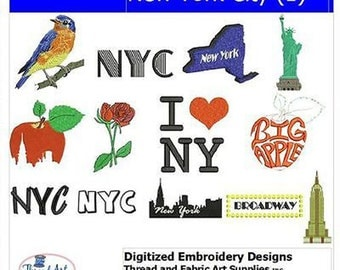 Embroidery Design CD - NYC(1) - 8 Designs - 9 Formats - Threadart