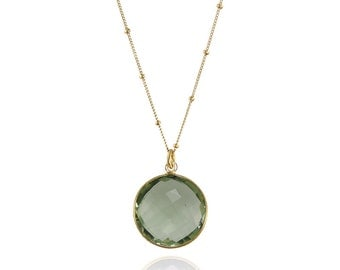 Green Amethyst Necklace - Round Gemstone Necklace - Bezel Set Necklace - Bridal Jewelry - Bridesmaid Necklace