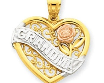 Three Tone Grandma Heart Charm (JC-105)