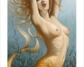 Mermaid Portrait by award winning artist John Silver. Personally signed A4 or A3 size Print. Mature image. FA011SP