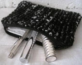 Handmade Recycled Black and White Poodle Pouch