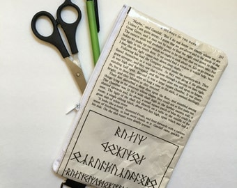 Lord of the Rings Book Themed Vinyl Pencil or Make-Up Pouch - The Runes