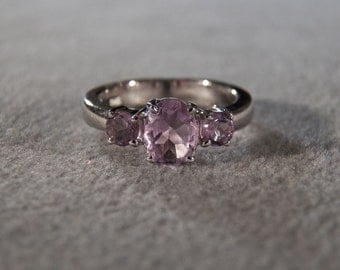 Vintage Sterling Silver Amethyst Ring with Wide Band, size 7 Jewelry **RL