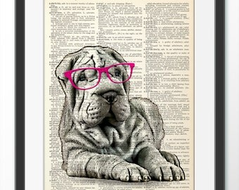 Shar Pei Dog Art Etsy