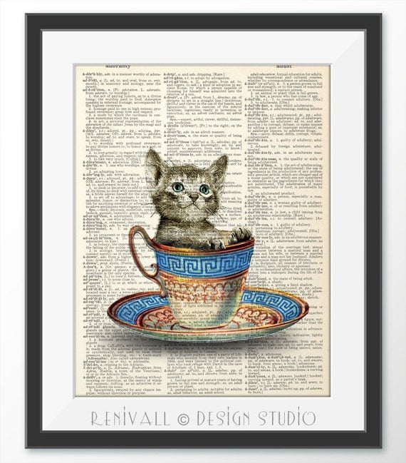 Kitty Cat In A Cup Of Tea Art Print Dictionary Print On