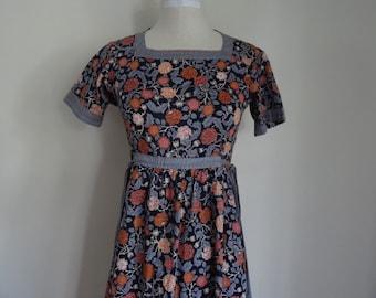 70's Dress Belle France Cotton Peasant Dress