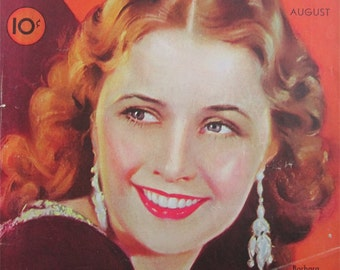 Original August 1932 Barbara Stanwyck Modern Screen Magazine Cover - Hollywood's Golden Age - Free Shipping