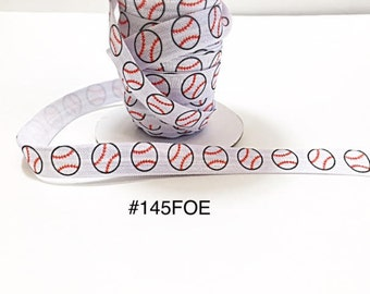 "3 or 5 yard - 5/8"" Sport Baseball on White Fold Over Elastic Headband Hair Accessories"