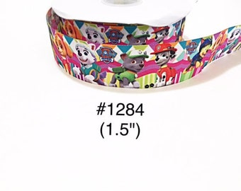 "3 or 5 yard - 1.5"" Paw Patrol and Friends on Multi Color Grosgrain Ribbon Hair bow"