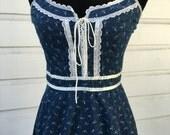 Wonderful Navy/dark blue Gunne Sax corset sundress. Vintage 9