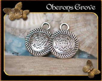 6  round coin charms silver 12x15mm