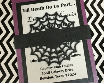 Halloween Invitations • Gothic Invitations • 5x7 Spider Web invitations • Envelopes Included