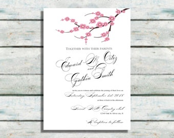 Cherry Blossom Wedding Invitations, Pink and white wedding invites