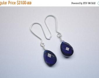 35%Dis Handmade 925 Silver Quartz Silver Earrings,Silver Earrings,Pear Earrings,Dazzling Deep Blue Briolette Wire Wrapped Earrings