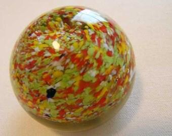 Vintage glass art paperweight, glass ball paperweight, vintage paperweight, glass art