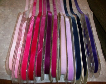 """many colors of Vintage Velvet satin back Rayon 1/2"""" wide Yardage  High Quality Old Store Stock"""