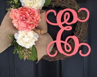 Spring Wreath - Summer Wreath -Shabby Chic Hydrangea Peony Burlap Wreath - Wreath -Mothers Day Gift -Monogrammed Wreath - Front Door Wreath