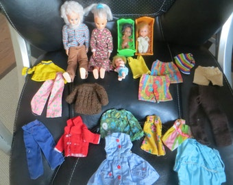 1970s Mattel SUNSHINE Family Grandfather Grandmother Man Babies Cribs Clothes
